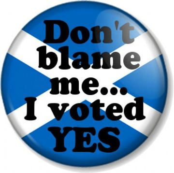 "Don't blame me I voted YES 25mm 1"" Pin Button Badge Scottish Referendum Humour"